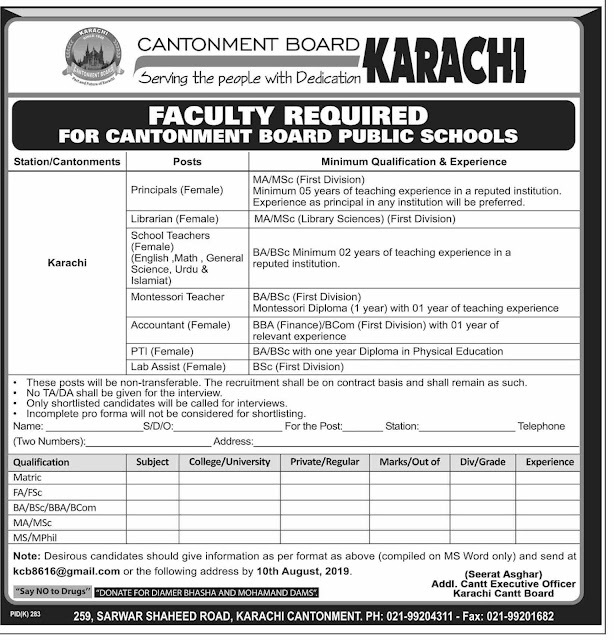 Cantonment Board Teaching new Jobs 2019 | Download Application form