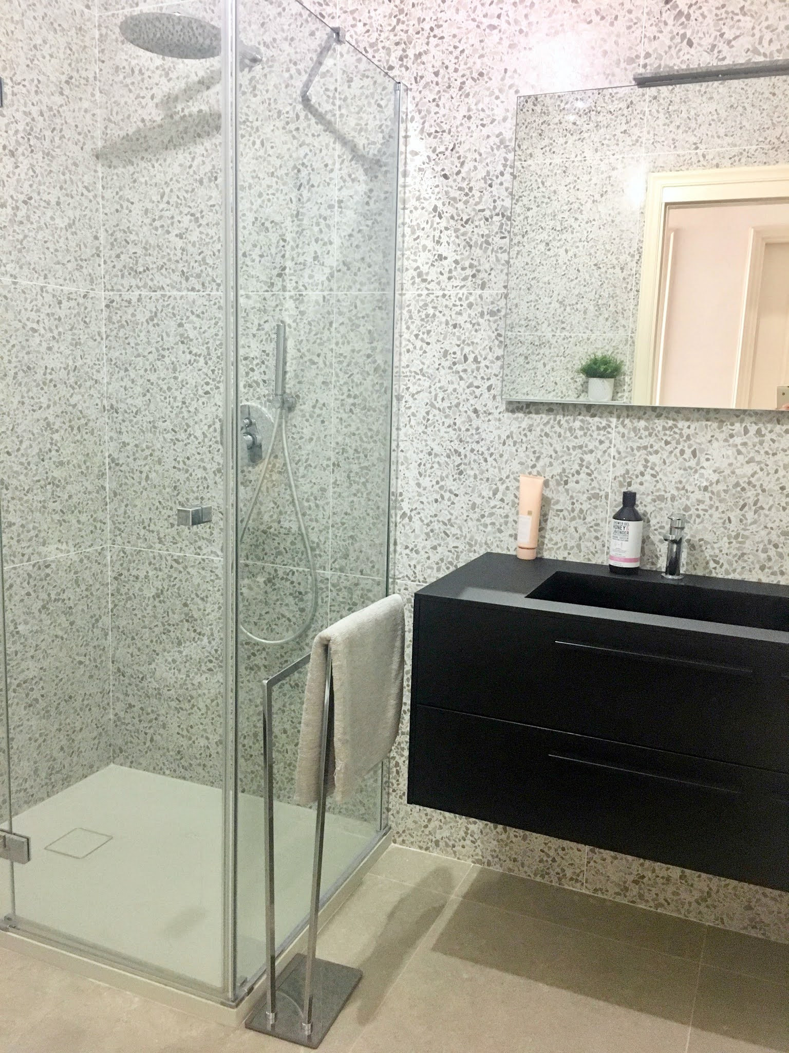 Bathroom shower terrazzo grey tile