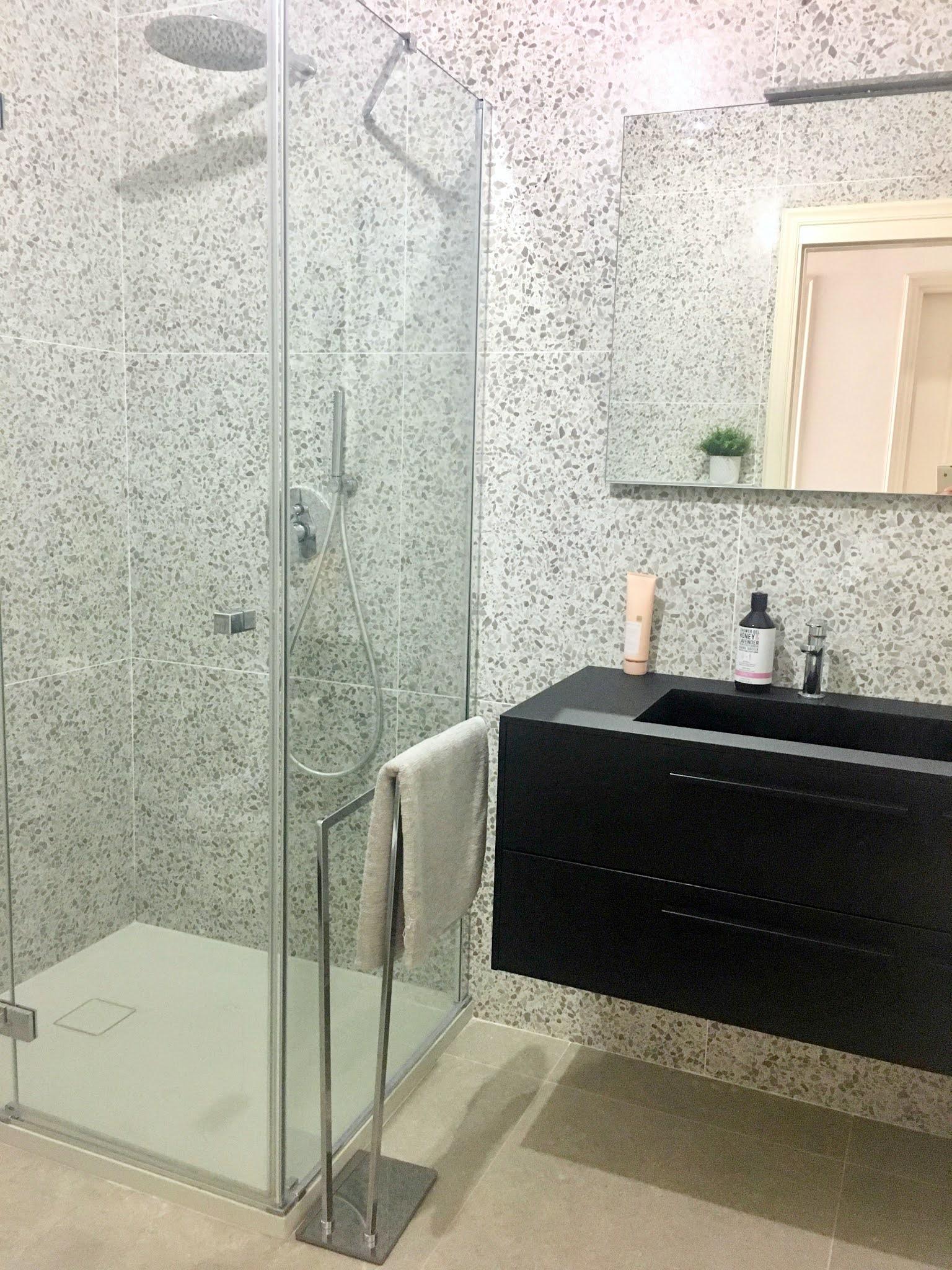 Bathroom shower terrazzo grey tile