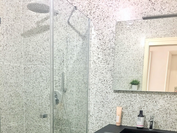 The bathroom remodel: all the terrazzo tile and how to fit a washer and dryer in a small bathroom