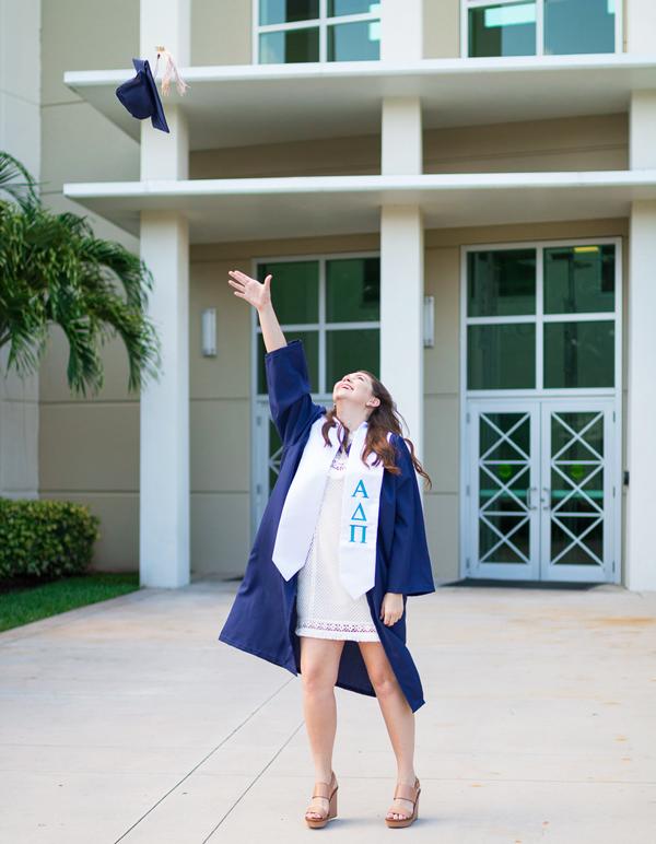 Graduation cap toss.