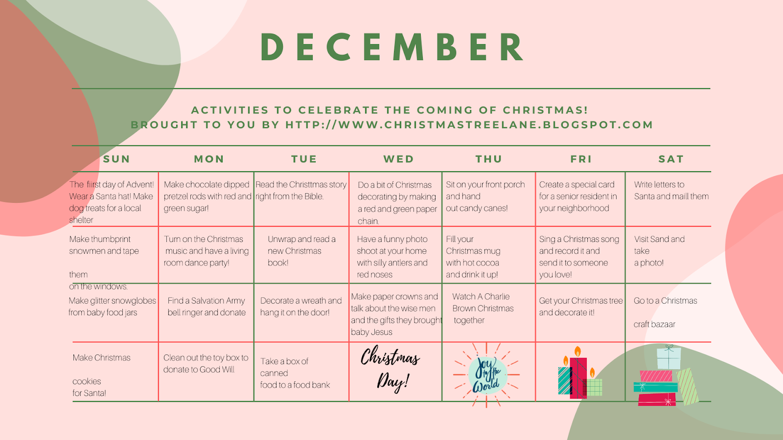 Christmas Tree Lane Advent Activity Calendar And Cards