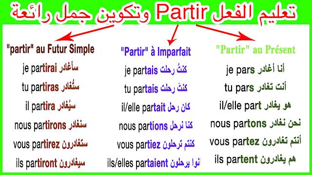 تعليم إستخدام الفعل Partir في الحاضر والماضي والمستقبل باحترافية Apprendre le français