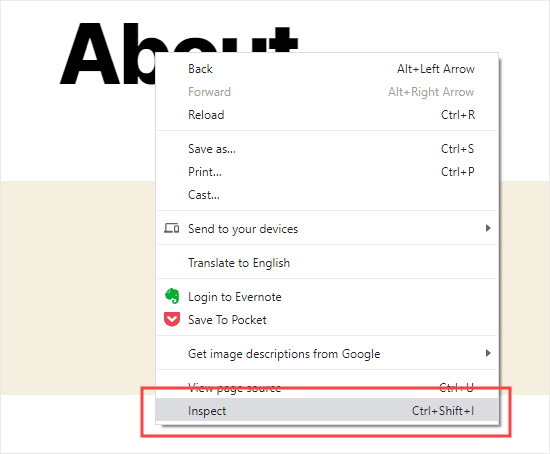 Select the Inspect option in Chrome