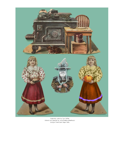 free printable paper doll from Lion Coffee antique ephemera
