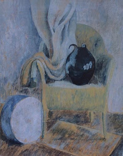 Untitled (still life with chair, black jug and drum) Pauline Boty, 1955