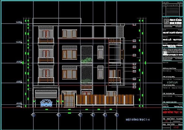 Bản vẻ cad mẫu nhà liền kề KDT Vạn Phú, Hà Đông đầy đủ kiến trúc, kết cấu