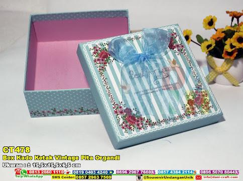 Box Kado Kotak Vintage Pita Organdi