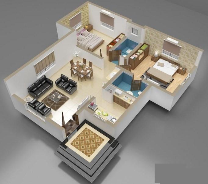 Denah Rumah Minimalis 3 Kamar Tidur 3D TERBARU 2017 & Denah Rumah Minimalis 3 Kamar Tidur 3D TERBARU 2017 ...