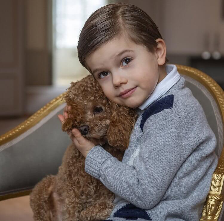 Prince Oscar was photographed with Princess Estelle at Haga Castle before his birthday. Prince Oscar wore a gray wool cashmere sweater