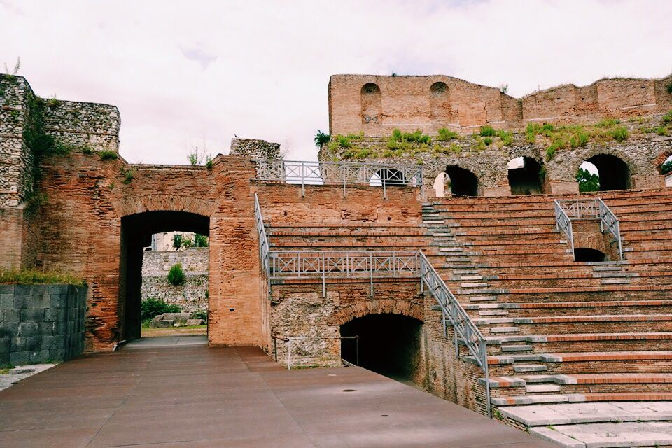 Brick entrance way and reconstructed brick seating area in the 2nd century theatre of Benevento