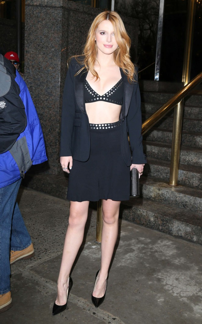 Bella Thorne wears a black bra top and skirt out and about in NYC