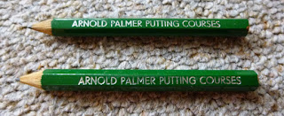 Two minigolf pencils from the Arnold Palmer Crazy Golf course in Prestatyn, Wales