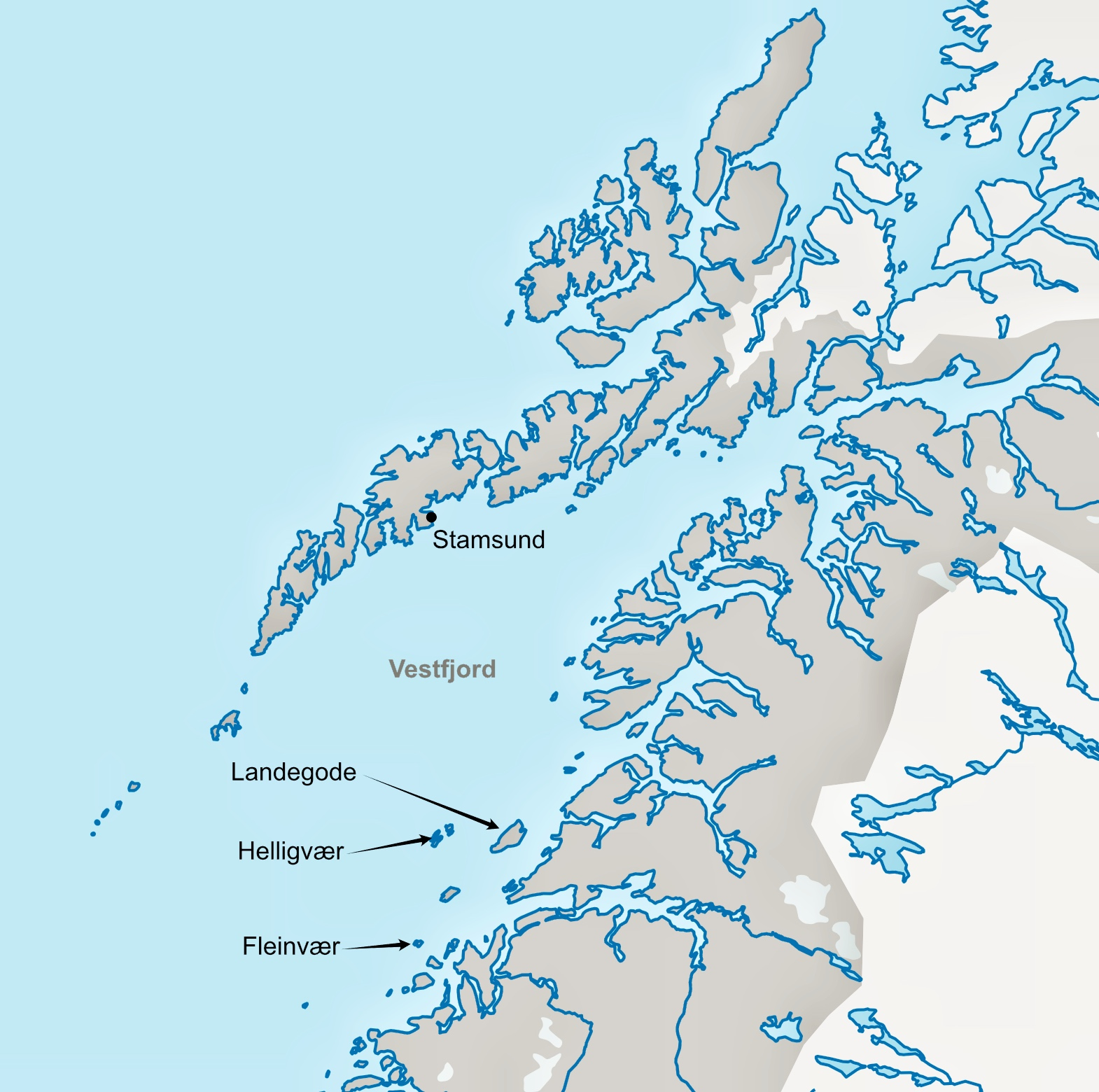 A map of the Lofoten archipelago, with places mentioned in the legend marked.
