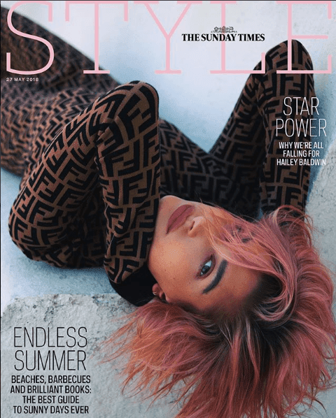 Luxury Makeup Hailey Baldwin's ThestStyle Cover With Her New Purple Hair And Simple Makeup Look