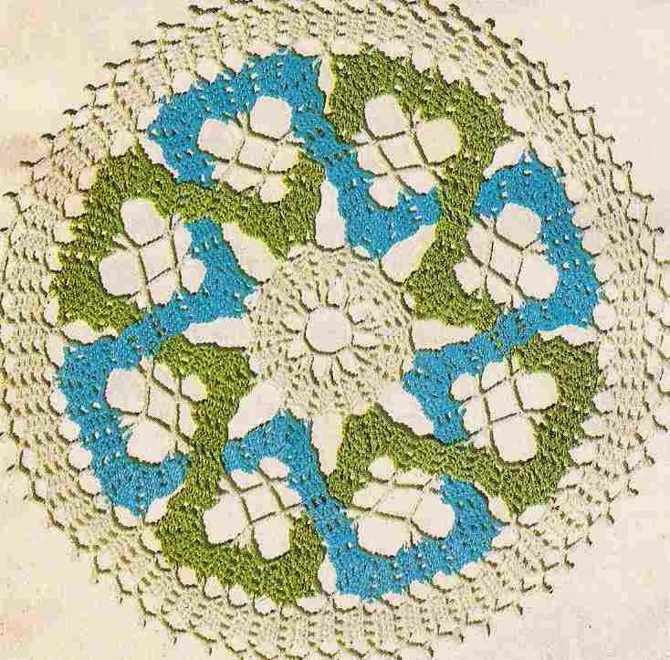 Centro de Mesa Tricolor a Crochet