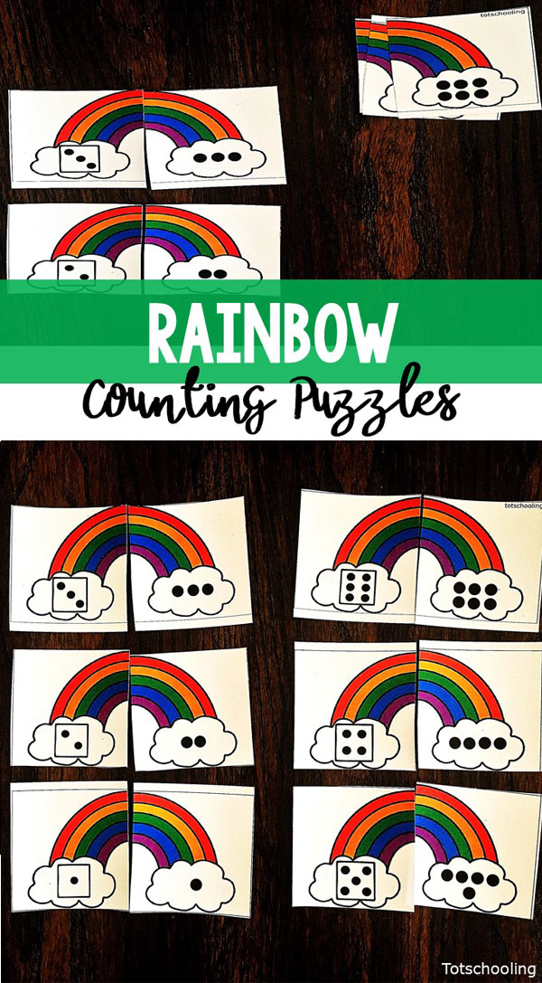 FREE Rainbow themed number sense activity for preschoolers, perfect for Spring or St. Patrick's Day! Great for practicing counting and one to one correspondence in a preschool math center.