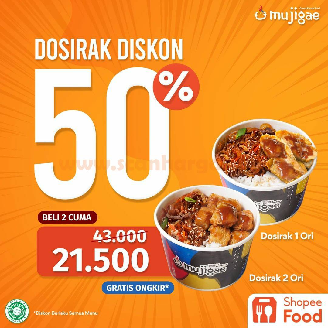 MUJIGAE Promo DOSIRAK DISKON 50% pemesanan via Shoppe Food