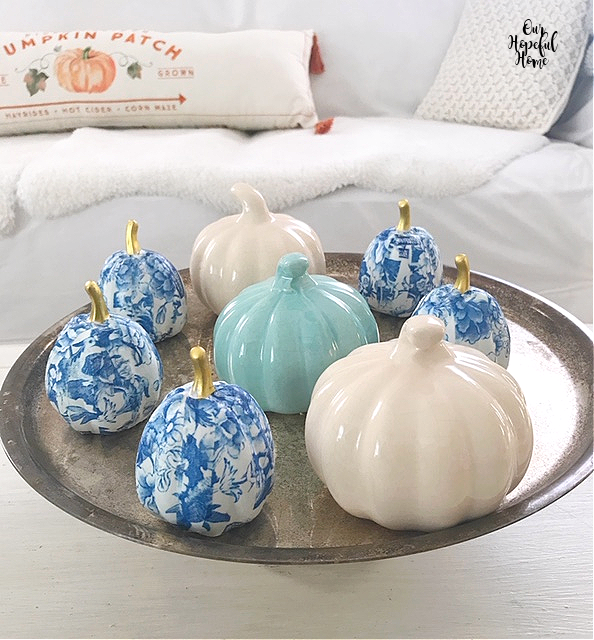 eight pumpkins tarnished cake stand