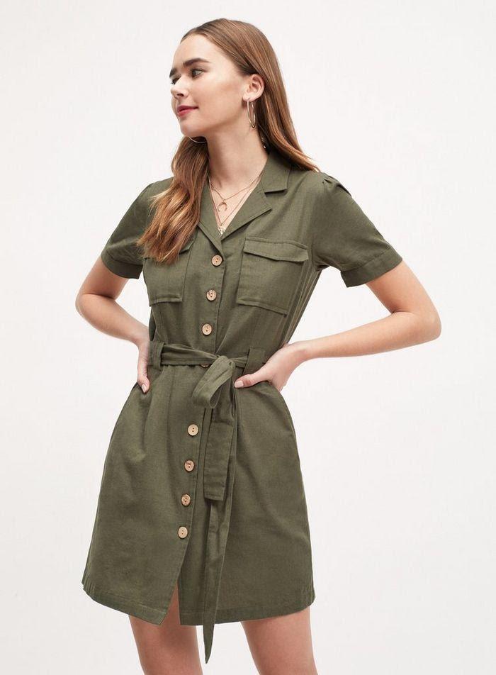 woman in olive midi shirt dress