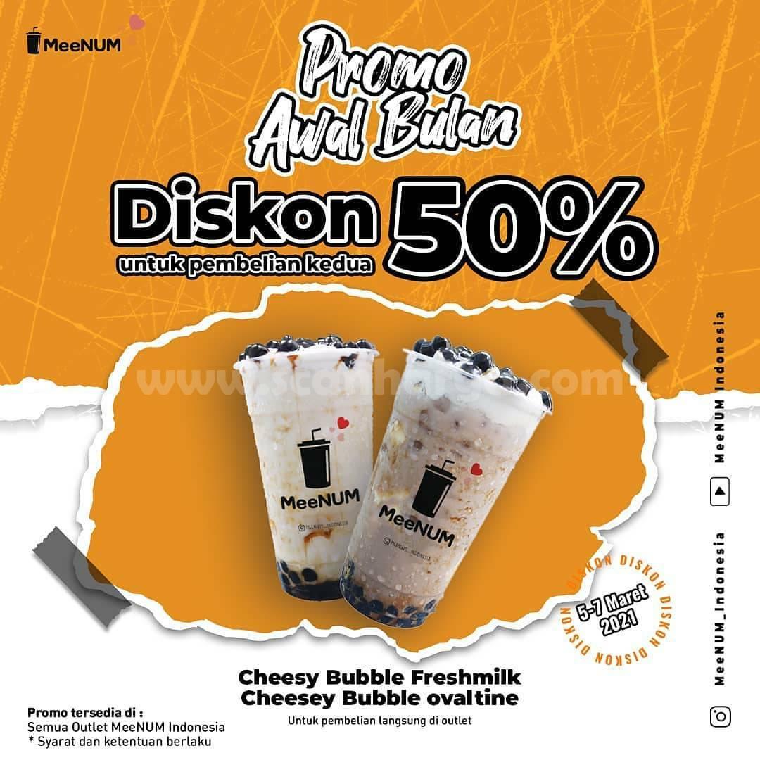 MeeNUM Promo Awal Bulan Diskon 50% untuk pembelian Kedua