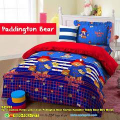 Sprei Custom Katun Lokal Anak Padington Bear Kartun Karakter Teddy Bear Biru Merah