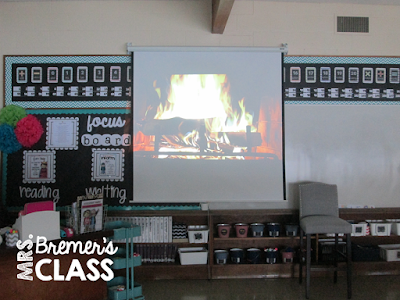 "Project a video of a burning fireplace in your classroom on a cold winter day to make the room ""warm"" and cozy!"