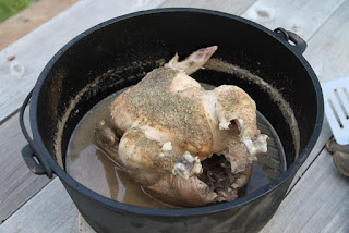 Cooked chicken in dutch oven