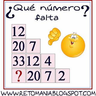 Retos para pensar, Piensa rápido, Descubre el número, Cuál es el número que falta, Desafíos matemáticos, Problemas matemáticos