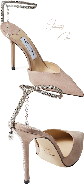 Jimmy Choo Saeda Ballet Pink Suede Pumps with Crystal Embellishment #brilliantluxury
