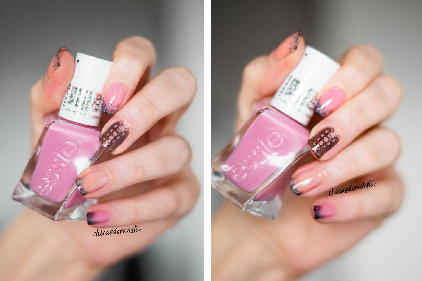 nail art Essie sheer silhouettes