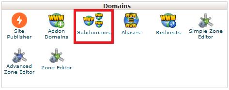 klik subdomains pada pengaturan domains