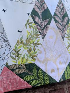 Geo Diamond quilt block made with Art Gallery Fabrics