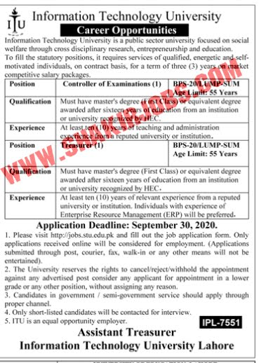 Jobs in Information Technology University Jobs September 2020