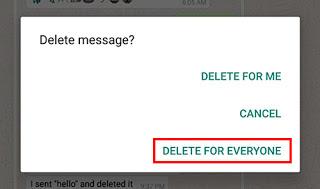 كيفية حذف رسالة الواتساب بعد إرسالها في الآندرويد: