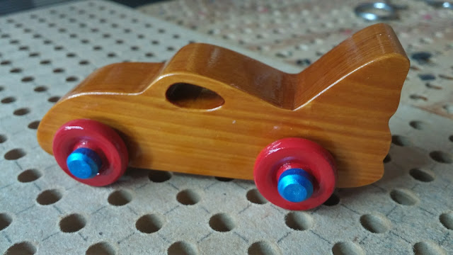Handmade Wooden Toy Bat Car Example of a Toy Car With Axle Pegs