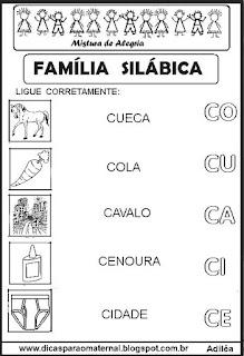 Famílias silábicas alfabetização letra C