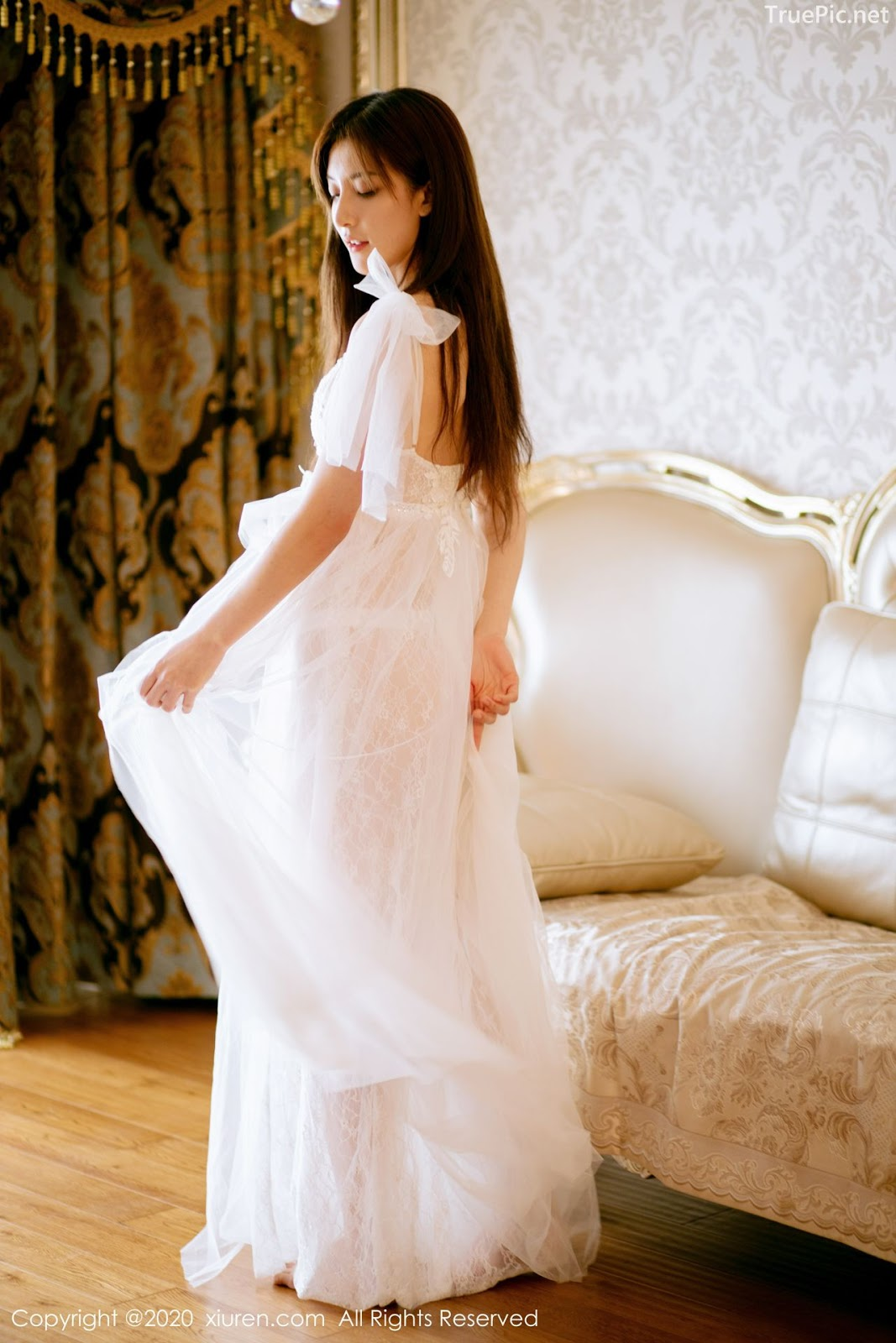 XIUREN No.1914 - Chinese model 林文文Yooki so Sexy with Transparent White Lace Dress - Picture 5