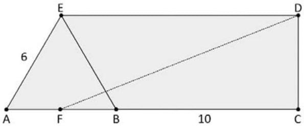 FUVEST 2021: Na figura, os segmentos AC e DE são paralelos entre si e perpendiculares ao segmento CD; o ponto B pertence ao segmento AC; F é o ponto médio do segmento AB; e ABE é um triângulo equilátero.