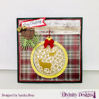 Stamp/Die Duos: Deer Ornament, Custom Dies: Pinecones & Pine Branches, Scalloped Circle, Paper Collection:  Rustic Christmas