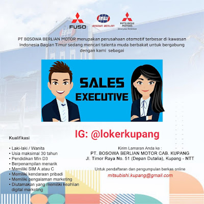 Lowongan Kerja PT Bosowa Berlian Motor Cabang Kupang Sebagai Sales Executive