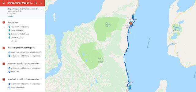 Patagonia Map of Punta Arenas Chile