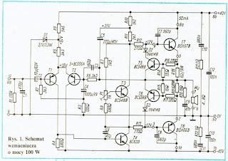 Schemat wzmacniacza o mocy 100W