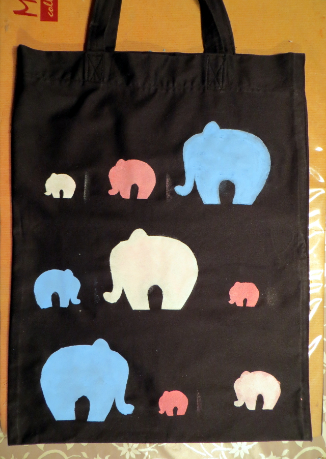 Elephant fabric print tote bag