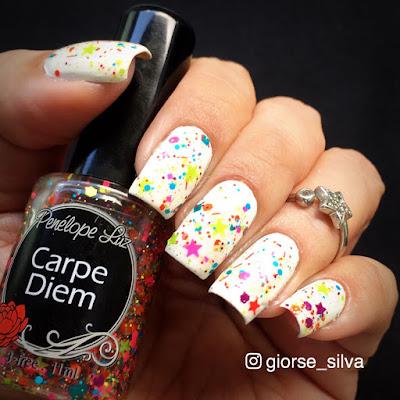 Esmalte Branco com Glitter Colorido - @Giorse_Silva