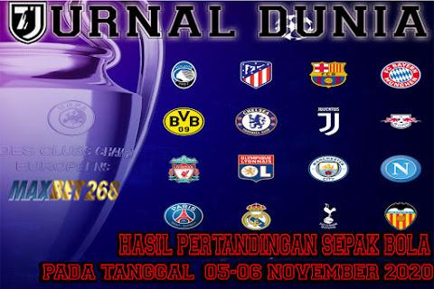 Hasil Pertandingan Sepakbola Tanggal 05 - 06 November 2020