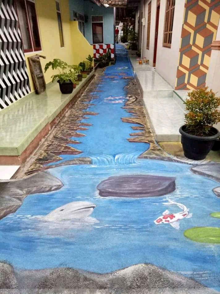 Cantik Dan Unik, Lukisan Jalan Gang Di Desa Cikaso Menarik Untuk ...