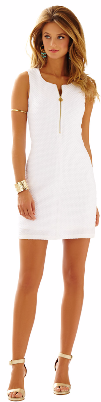 LILLY PULITZER LYND SLEEVELESS SHIFT DRESS WHITE