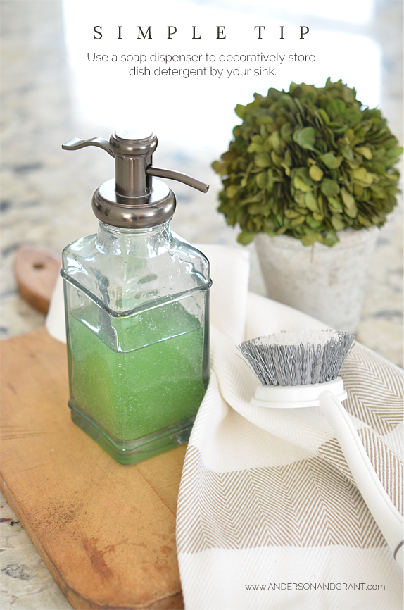 This simple tip is even better than Martha Stewart's for decoratively storing dish detergent by your sink!  | www.andersonandgrant.com