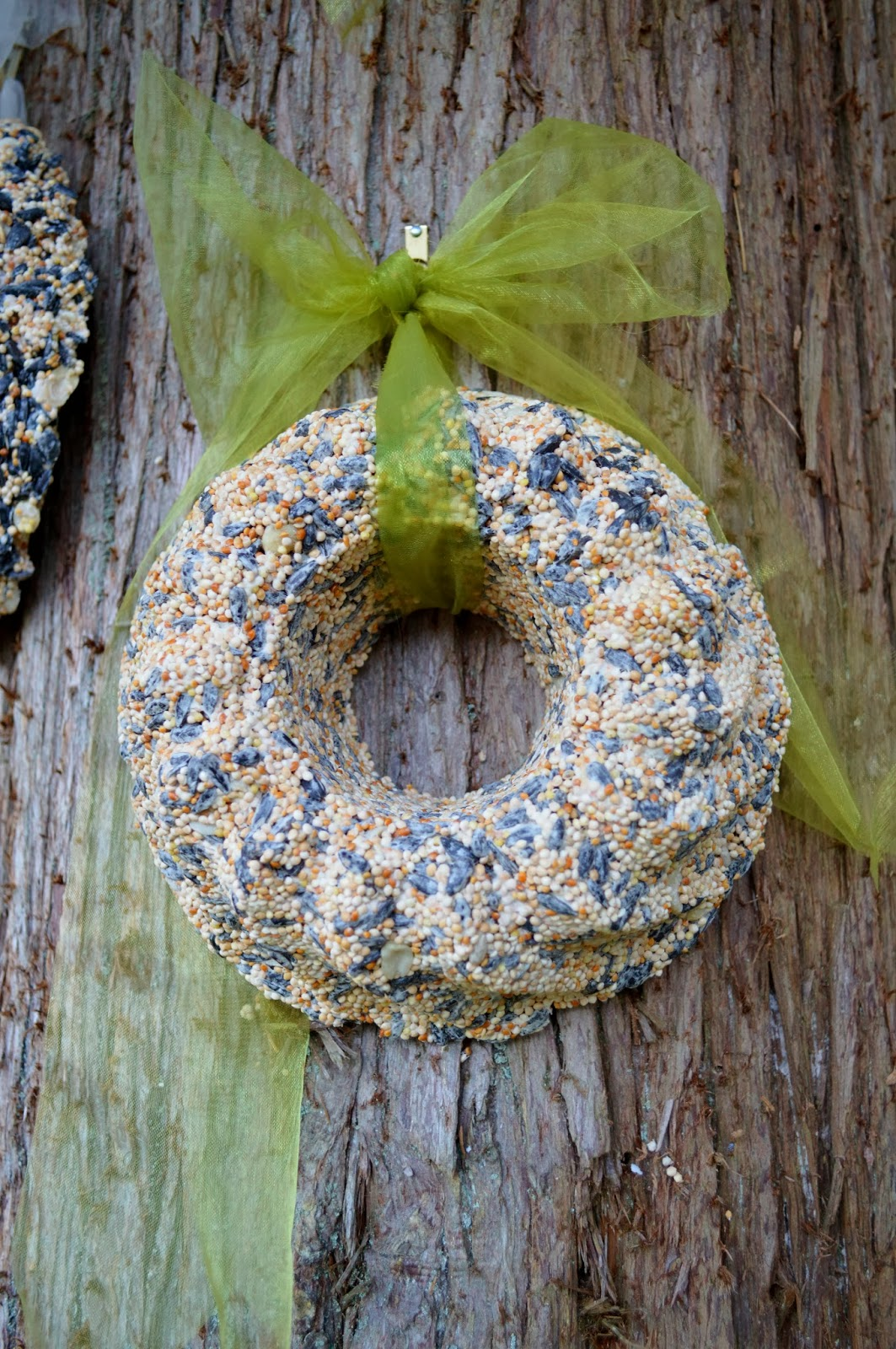 The nitty gritty potager bird seed wreaths they 39 re for for Bird seed glue recipe